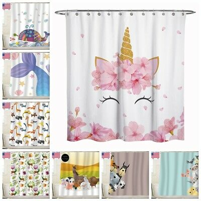 Sunlitlight Animal Dog Cat Fabric Shower Curtain Bathroom For Kid 72x72inch ()