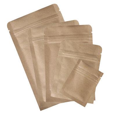 Multi-size 100pcs Wtear Notch Brown Kraft Ziplock Mylar Bags A585