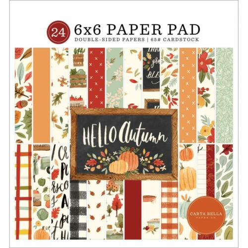 "Hello Autumn Carta Bella Double-Sided Paper Pad 6""X6"" 24 Sheets CBHEA122023 New"