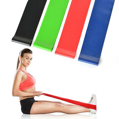 Set of 4 Exercise Resistance Loop Bands for Fitness Stretch Therapy Strength Run