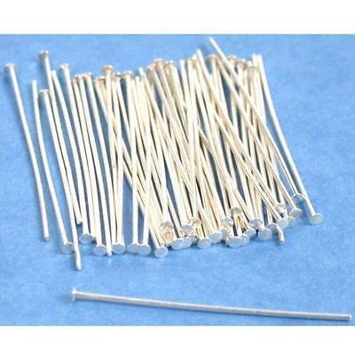 """50 Sterling Silver Head Pins 24 Gauge 1 1/2"""""""