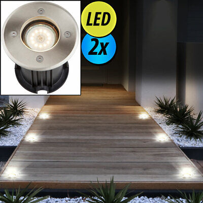 2x LED exterior recessed spotlight stainless steel ground floor lamps courtyard