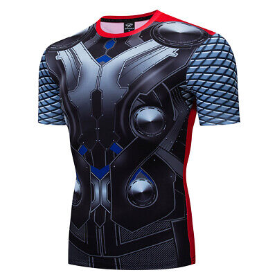 Men Superhero Thor Costume Cosplay Compression Tight Gym Workout Fitness T-shirt