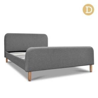 Double Polyester Fabric Bed Frame Grey