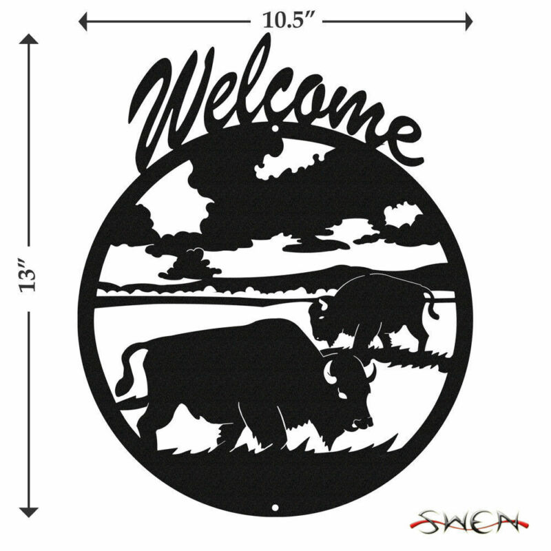 SWEN Products BISON BUFFALO Black Metal Welcome Sign