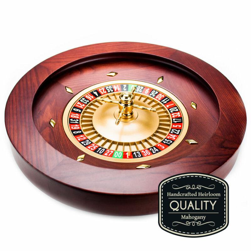 "18"" Casino Grade Deluxe Wooden Roulette Wheel Grou-002"