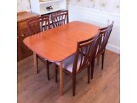 Extending Wooden Dining Table with Four Chairs