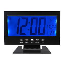 Sound Sensor LCD Digital Table Clock Calendar Temperature Alarm Black Snooze