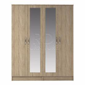 Beatrice 4 door double mirrored wardrobe oak
