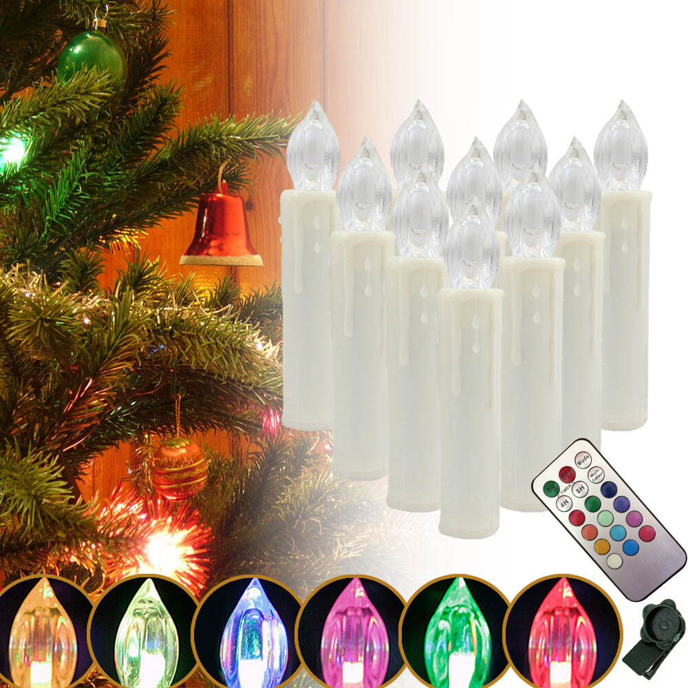 rgb 20x lichterkette kerzen kabellos led weihnachtskerzen. Black Bedroom Furniture Sets. Home Design Ideas