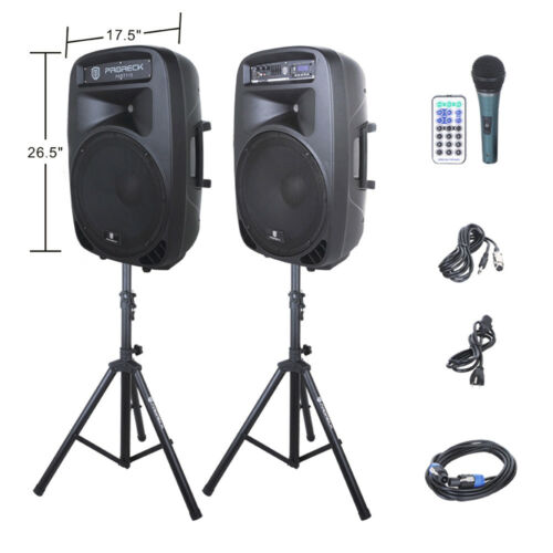 "PRORECK 2000W 15"" Powered DJ PA Speaker System Mixer+Stands Bluetooth/USB/SD/LED"