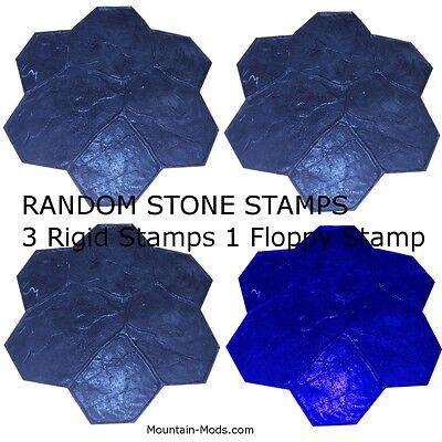 4 Random Stone Decorative Concrete Cement Imprint Texture Stamp Mat Set New
