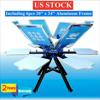 Usa 6 Color Screen Printing Press 6 Station Printer Double Rotary Print Machine