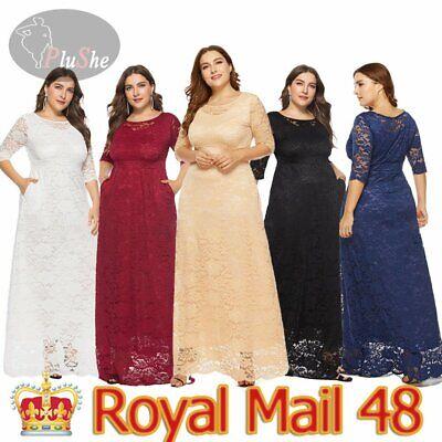 UK Plus Size Women Cocktail Party Wedding Evening Formal Lace Long  Maxi Dresses
