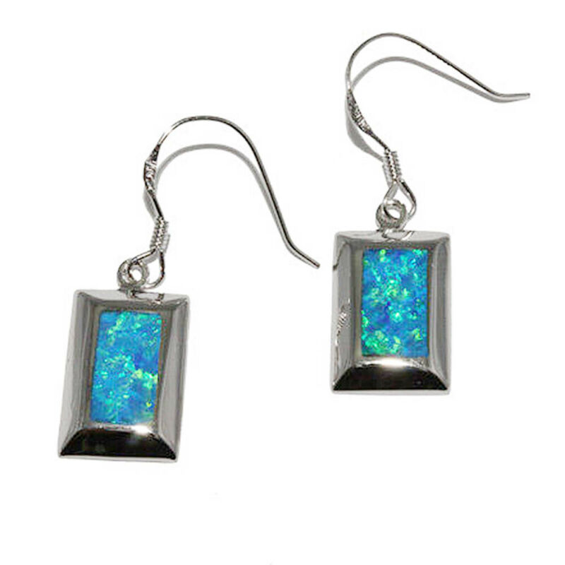 Opal Dangle Earrings Blue w Green Fire Lab Created Inlay Sterling Silver 10x15mm