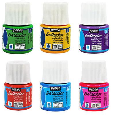 Pebeo SETACOLOR LIGHT Permanent Fabric Textile Paint 45ml - 15 Colours - Pebeo Setacolor Fabric