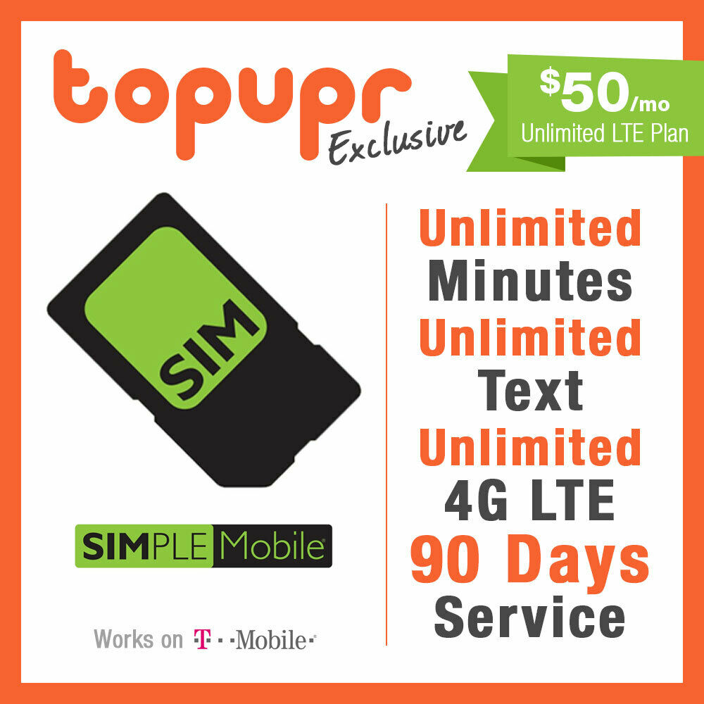 1 2 3 MONTH SIMPLE MOBILE SIM Card $50 PLAN 90 Days Unlmited