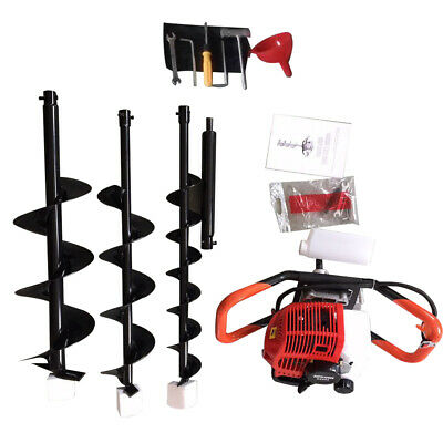 52cc Post Hole Digger 2.3hp Gas Powered 4 6 8 Power Engine Auger Bits