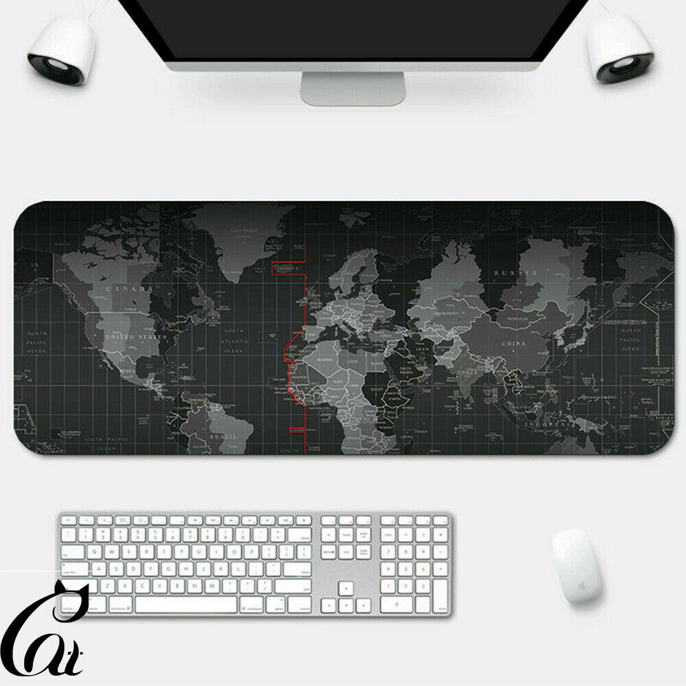 World Map Large Size Gaming Mouse Pad Anti-slip Desk Keyboar