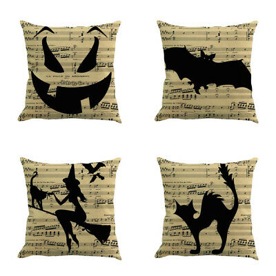 Happy Halloween Square Pillow Cases Linen Sofa Waist Cushion Cover Home Decor