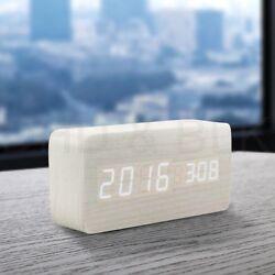 Modern Wooden Wood USB/AAA Digital LED Alarm Clock Calendar Thermometer #6