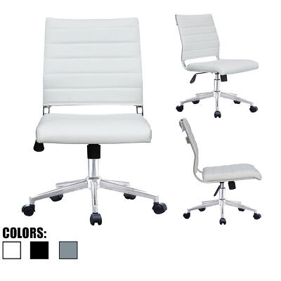 Armless Office Chair Height And Tilt Adjustable Pu Leather Seat Swivel Chair