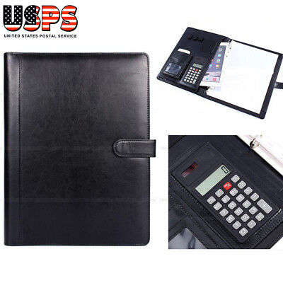 A4 Conference Folder Ring Binder Portfolio Organiser w/Calculator PU Leather US