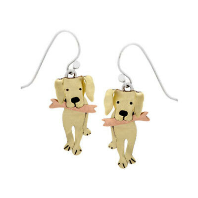 Go Fetch Mixed Metal Golden Labrador Retriever Wire Dog Earrings-Silver Ear Wire for sale  Coraopolis