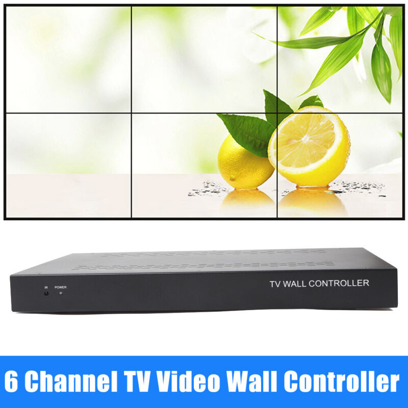 6 Channel TV Video Wall Controller 2x3 1x5 HDMI DVI VGA USB Video Processor 30W