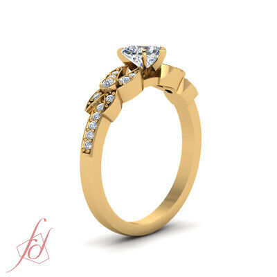 .85 Ct Heart Shaped And Round Diamond Women Engagement Rings 14K Yellow Gold GIA 2