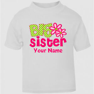 Personalised-Big-Sister-t-shirt-Tee-For-Girls-Top-Age-Size-kids-Party-Gift-New