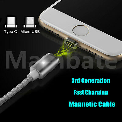 Magnetic Type-C / Micro USB Fast Charging Cable Charge for Samsung S9 S8 Plus