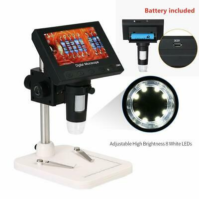 1000x 5mp Microscope 4.3 Lcd Display 720p 8led Digital Magnifier With Holder Us