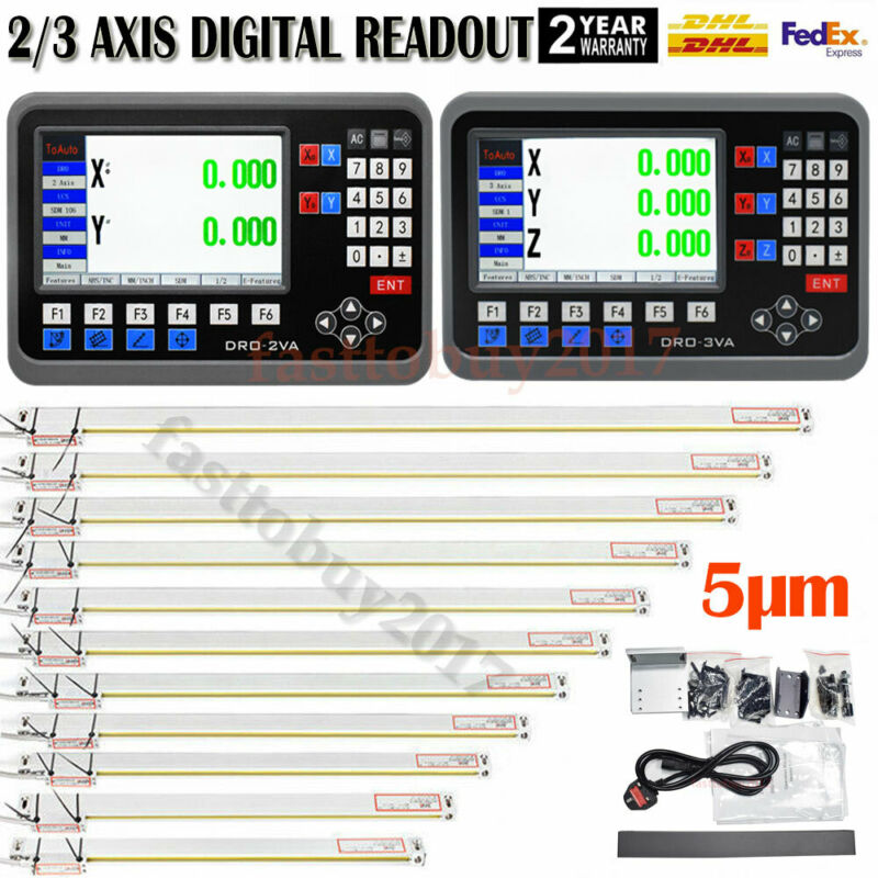2/3Axis LCD DRO Digital Readout TTL Linear Glass Scale EDM Lathe Mill Machine US
