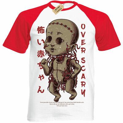 Scary Puppe T-Shirt Herren Halloween Gruselig Horror Gothic Kurzärmelig Baseball
