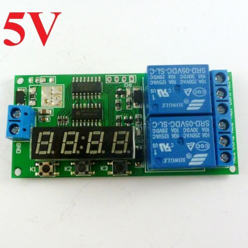 DC5V 2 Channel Multi-function Delay Cyclic Timer Relay Control Motor Reverse LED