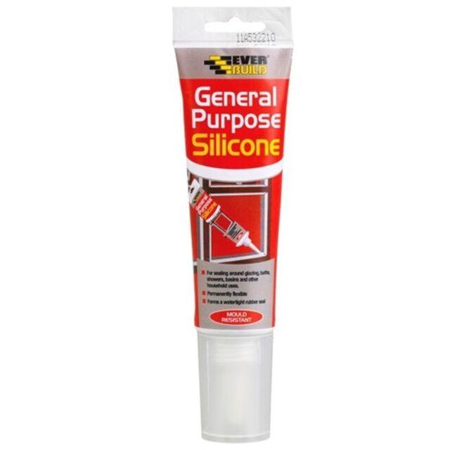 Everbuild Clear General Purpose Silicone Sealant Easi Squeeze - 80ml Anti Fungal