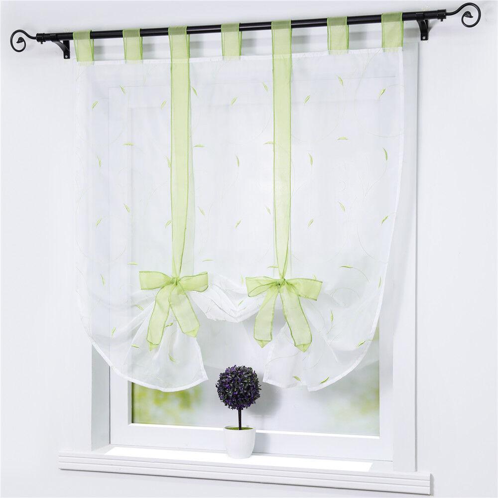 Raffrollo Weiß Raffgardinen mit Schlaufen Fenstergardine Küche