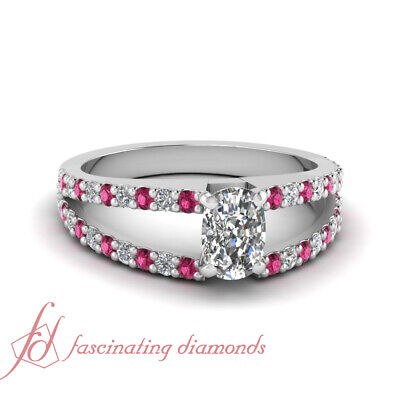 1.30 Carat Cushion Cut Diamond And Pink Sapphire Ring In Platinum GIA Certified