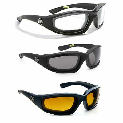 3 Pair Combo Chopper Padded Wind Resistant Sunglasses Motorcycle Riding (Sunglass Pads)