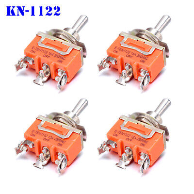 4 Pcs Kn1122 Mini Toggle Switch Ac 250v 15a 3 Pins Spdt On-off-on 3 Position