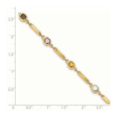 14k Yellow Gold Multi Gemstone Link Bracelet Fine Jewelry Women Gifts Her 3