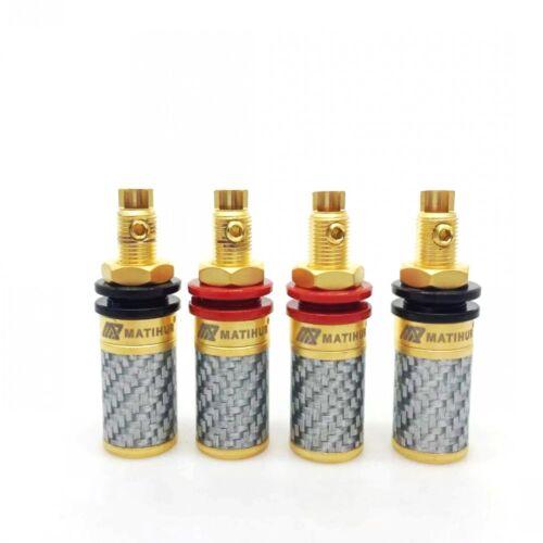 4X carbon fiber 99.99% Pure Copper Gold Amplifier Speaker Terminal Binding Post