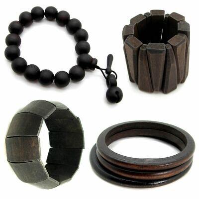 Armband Holzarmband Damen Kugeln Braun Schwarz Holz Natur Breit Armreif Vintage