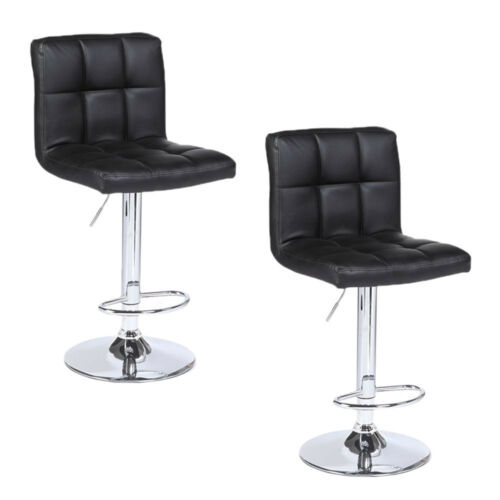 set of 2 modern bar stools leather