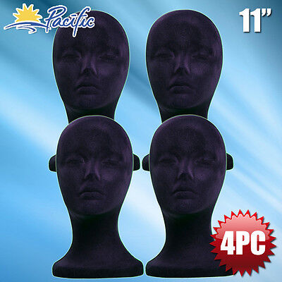 11 Styrofoam Foam Black Velvet Mannequin Manikin Head Display Wig Hat Glass 4pc