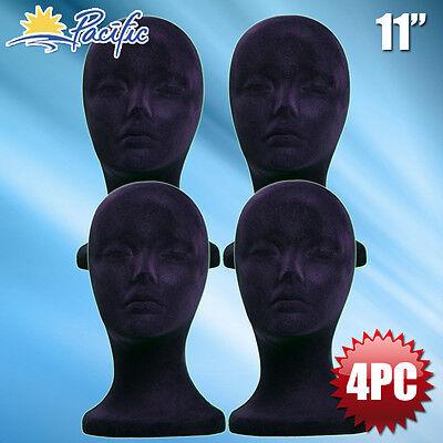 11 Styrofoam Foam Black Velvet Mannequin Manikin Head Display Wig Hat Glass 4pc