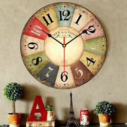Large Wooden Owl Wall Clock Vintage Rustic Shabby Retro Home Art Decor Gift