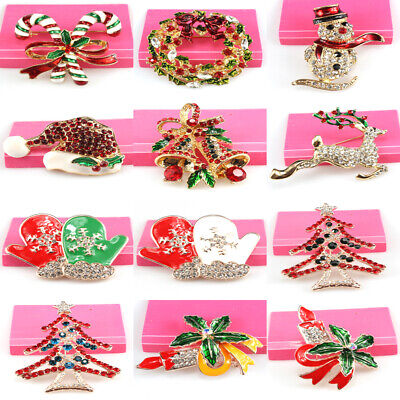 Wholesale Clothing Accessories Jewelry Crystal Enamel Christmas Xmas Brooch Pin - Wholesale Christmas Accessories