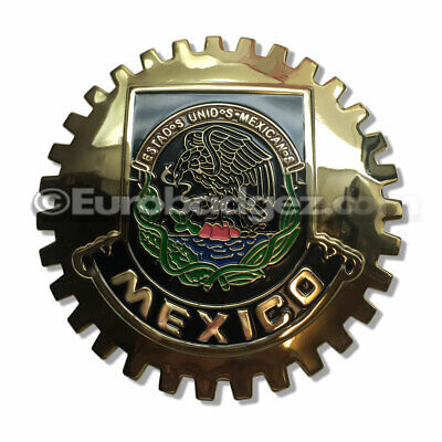1 NEW Gold Front Grill Badge Mexican Flag Spanish MEXICO MEDALLION GOLDEN CHROME
